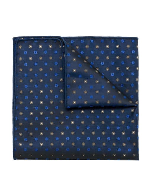 Blue with Brown Floral Woven Pocket Square PSQ67.9