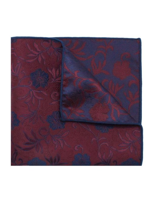 Red with Navy Floral Woven Pocket Square PSQ70.9