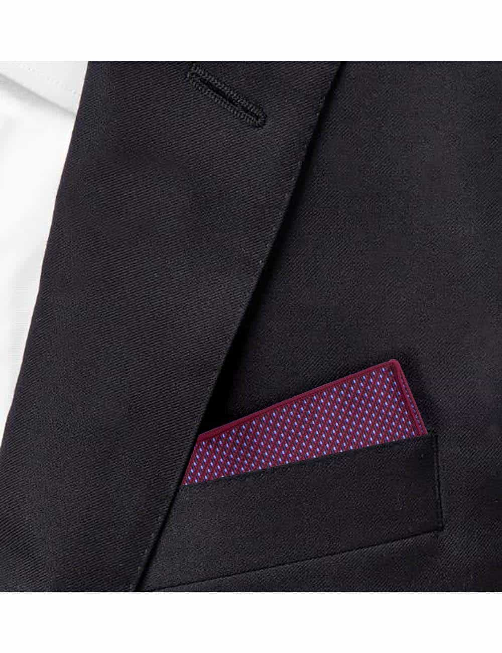 Red with Blue Dobby Woven Pocket Square PSQ71.9