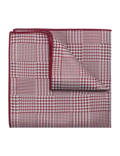 Red Checks Woven Pocket Square PSQ73.9