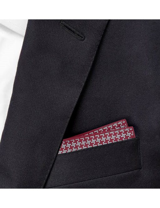 Red and Grey Checks Woven Pocket Square PSQ77.9