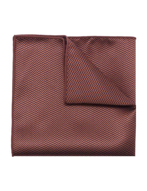 Orange and Navy Herringbone Woven Pocket Square PSQ83.9