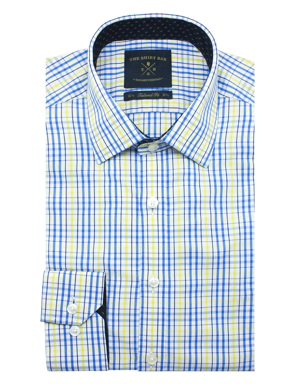 Blue and Yellow Checks Eco-ol Bamboo Slim / Tailored Fit Long Sleeve Shirt - TF2A6.7