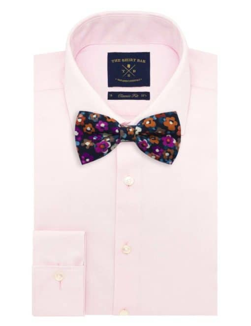 Navy with Pink and White Floral Pint Woven Bowtie WBT31.8