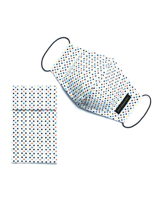 Multicoloured Polka Dot White Reusable Mask with Pouch - FM12.1
