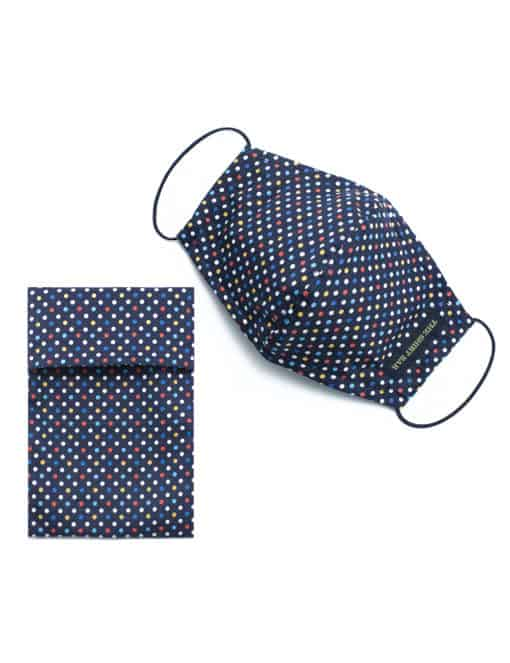 Multi Colour Polka Dot Navy Reusable Mask with Washable Bag - FM13.1