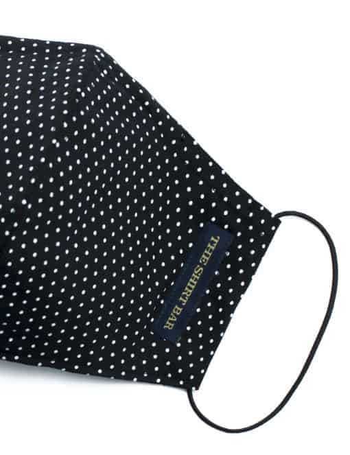 White Polka Dot Black Reusable Mask with Washable Bag - FM21.1