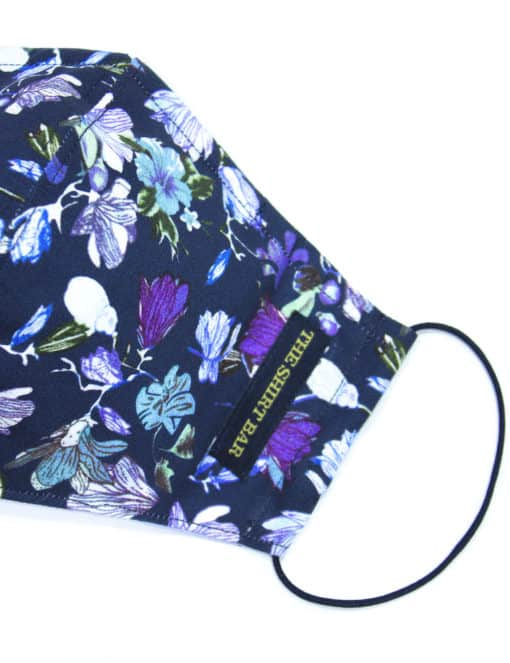Navy Floral Print Reusable Face Mask with Washable Bag - FM5.1