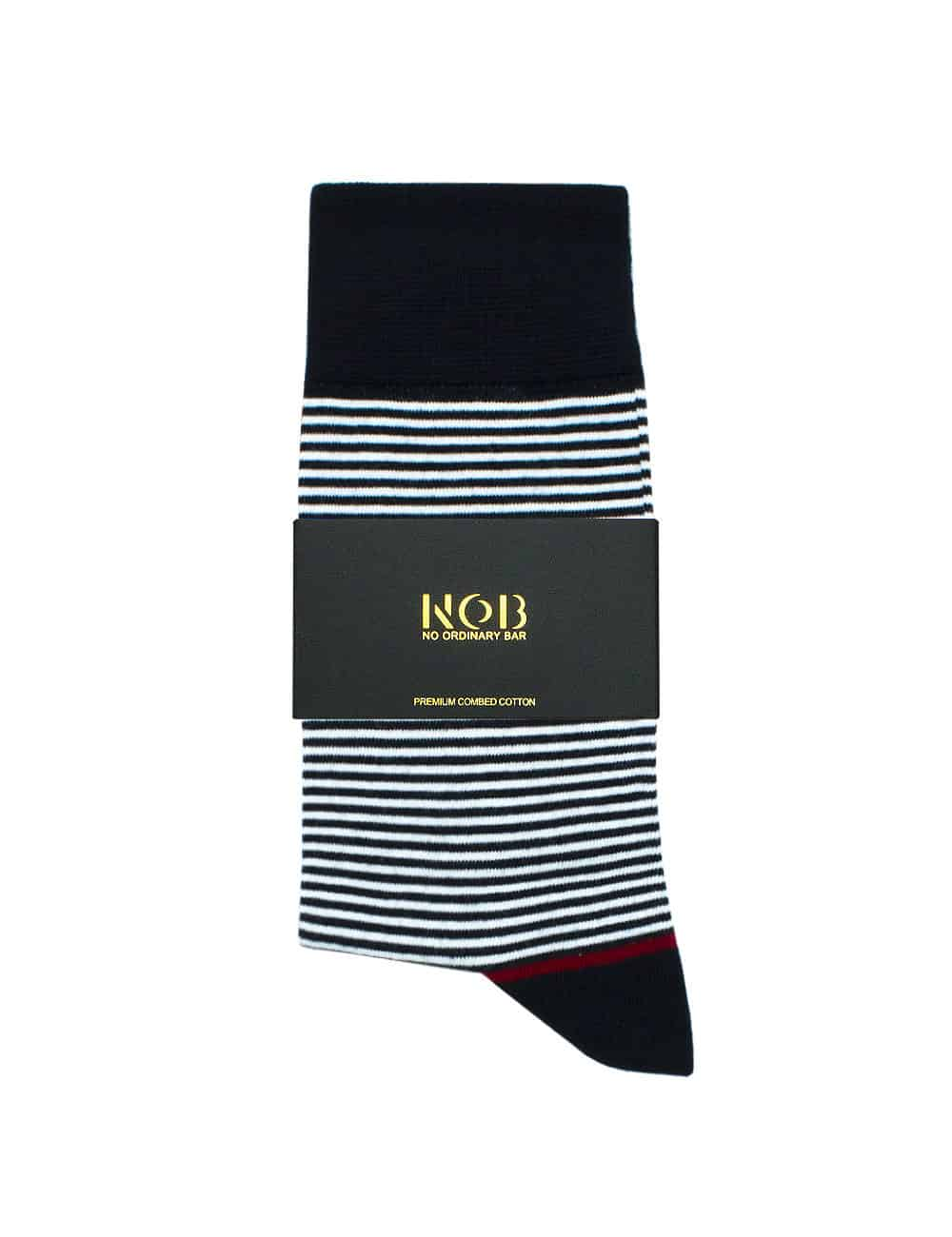 NAVY AND WHITE STRIPES CREW SOCKS SOC3B.NOB1