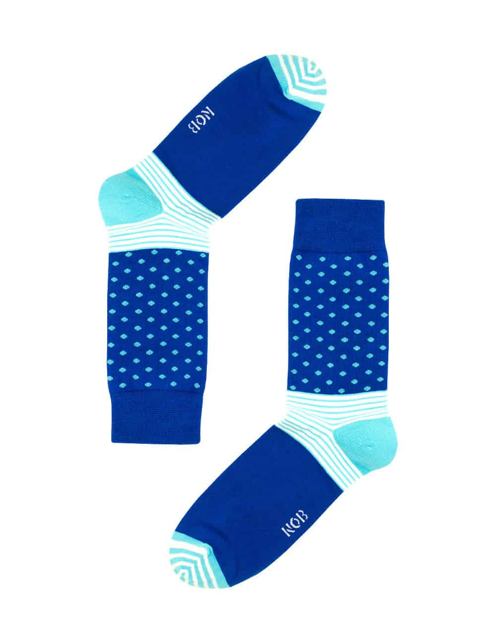 BLUE WITH SKY BLUE POLKA DOTS CREW SOCKS SOC2A.NOB1