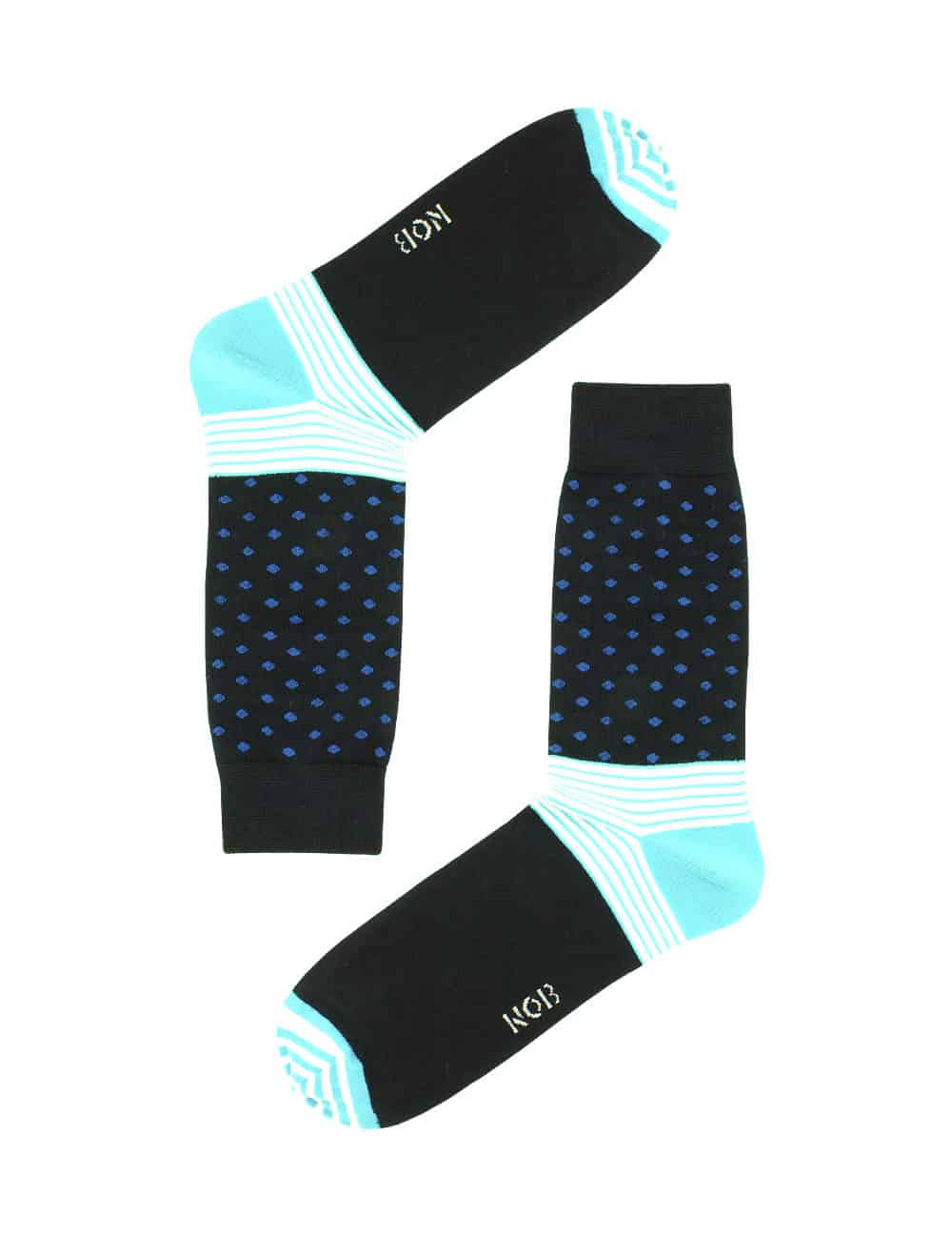 NAVY WITH BLUE POLKA DOTS CREW SOCKS SOC2C.NOB1