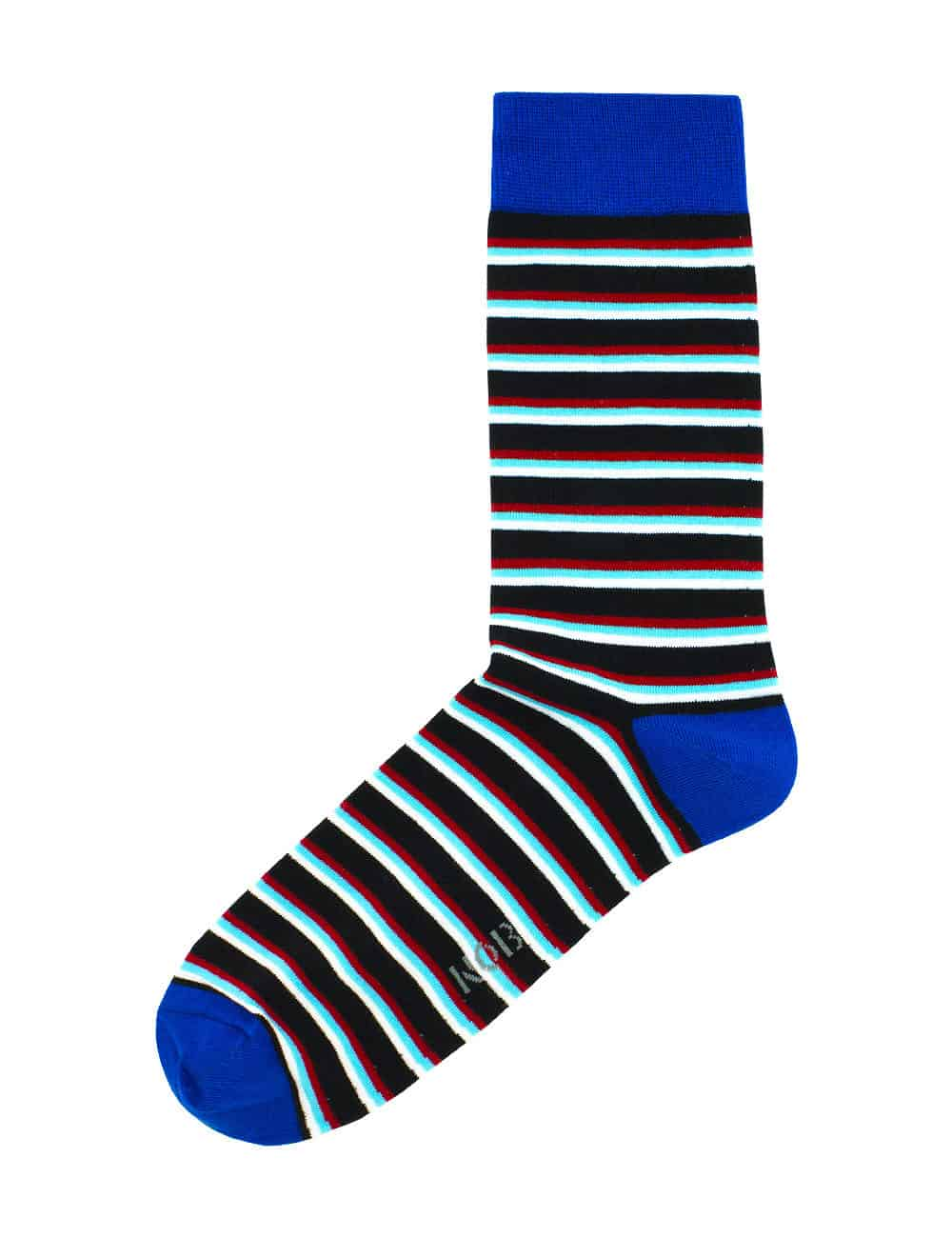 NAVY WITH RED, TURQUOISE AND WHITE STRIPES CREW SOCKS SOC4A.NOB1