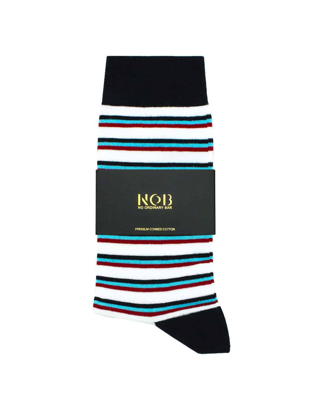 WHITE WITH NAVY, TURQUOISE AND RED STRIPES CREW SOCKS SOC4B.NOB1