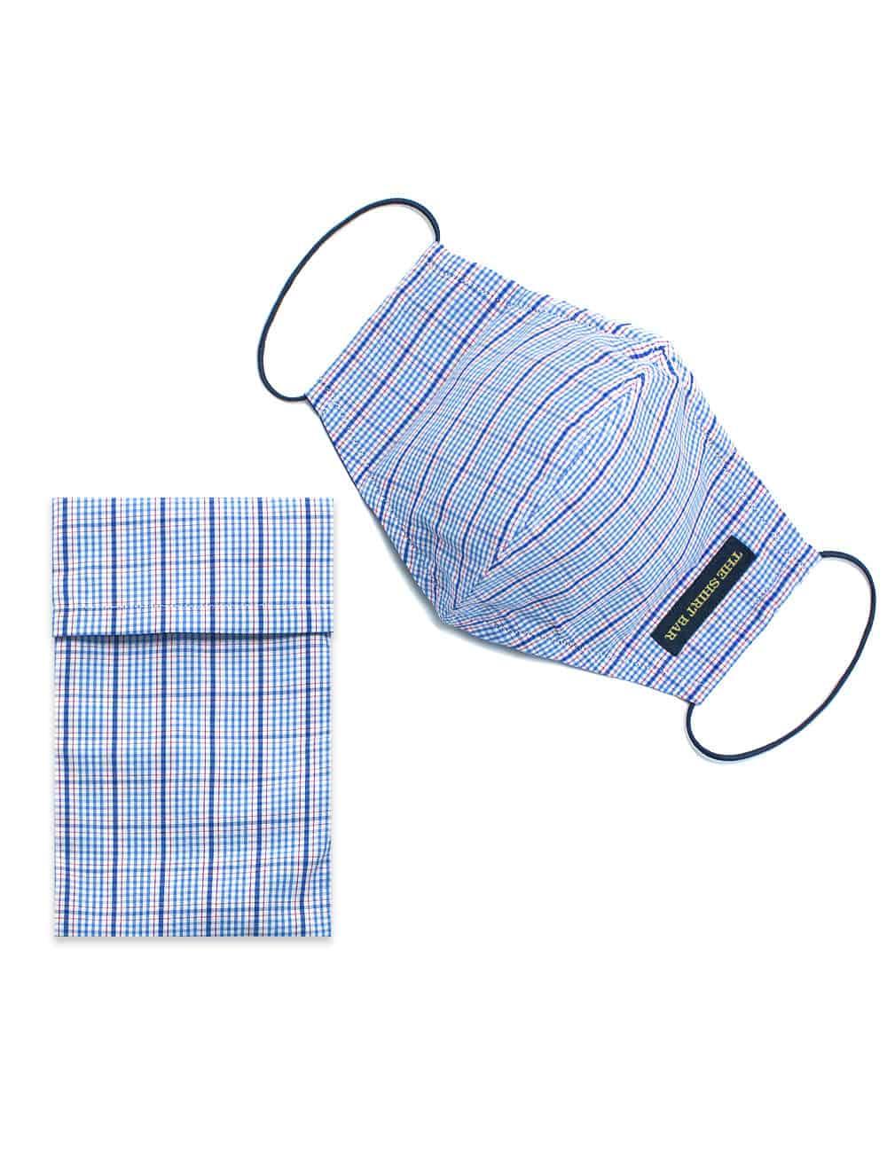 Blue Checks Reusable Mask with Pouch FM24.1