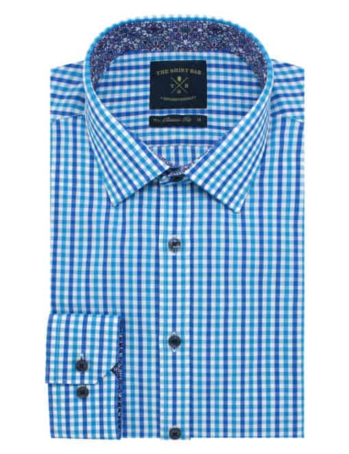 Classic Fit Bright Blue Checks Eco-ol Bamboo Blend Wrinkle Free Long Sleeve Single Cuff Shirt CF2A10.18