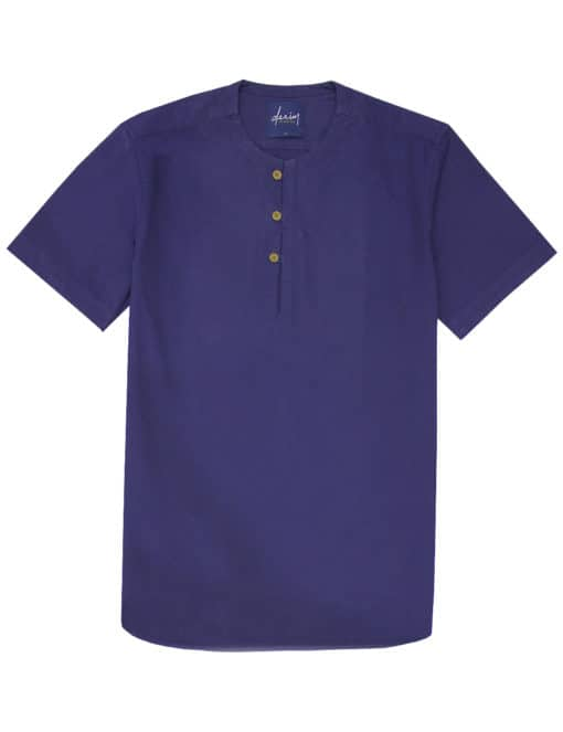 Relaxed Fit Solid Navy 100% Cotton Short Sleeve Shirt RF39S1.9