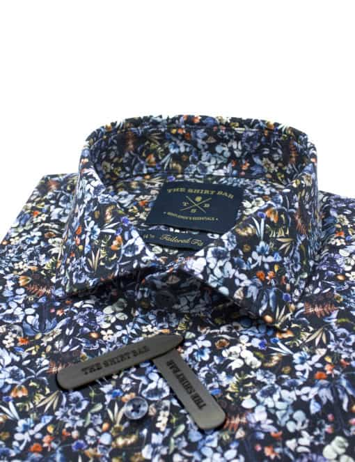 Tailored Fit 100% Premium Cotton Digitally Black Floral Print Italian Fabric Silky Finish Long Sleeve Single Cuff Shirt TF1A6.18