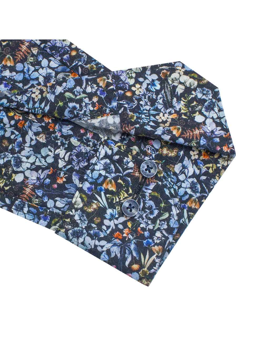 Tailored Fit 100% Premium Cotton Digitally Black Floral Print Italian Fabric Silky Finish Long Sleeve Single Cuff Shirt TF1A6.18