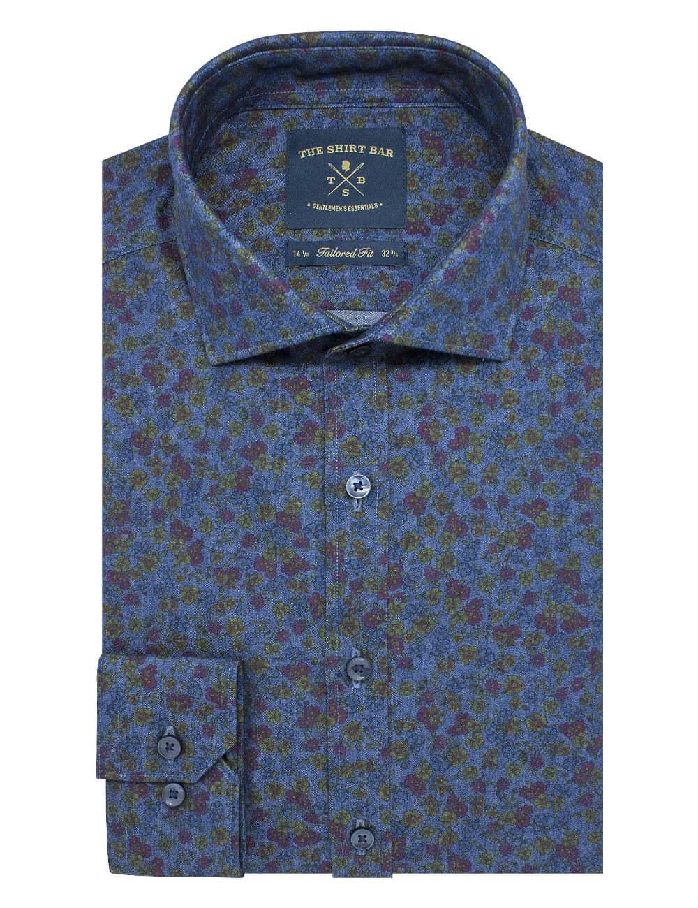 Tailored Fit 100% Premium Cotton Digitally Printed Blue Denim Print Italian Fabric Silky Finish Long Sleeve Single Cuff Shirt TF1A4.18
