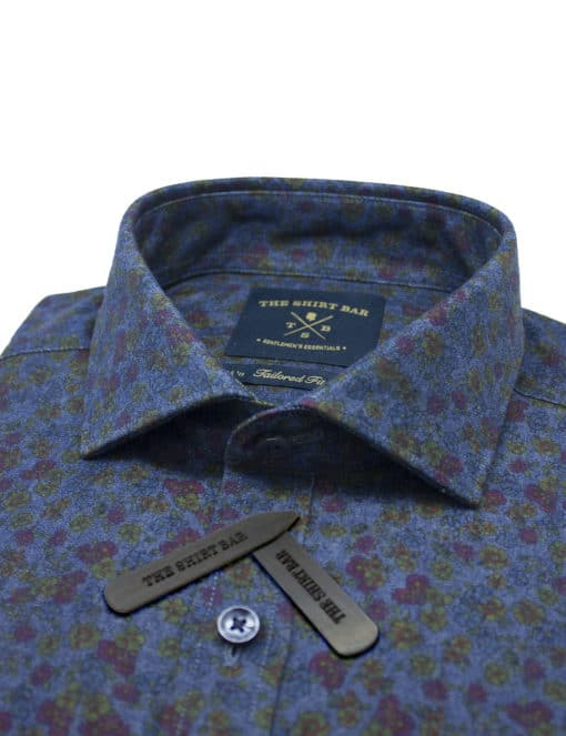 Tailored Fit 100% Premium Cotton Digitally Printed Blue Denim Print Italian Fabric Silky Finish Long Sleeve Single Cuff Shirt TF1A4.18