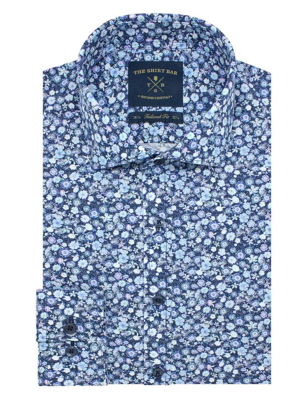 Tailored Fit 100% Premium Cotton Digitally Printed Blue Floral Italian Fabric Silky Finish Long Sleeve Single Cuff Shirt TF1A2.18