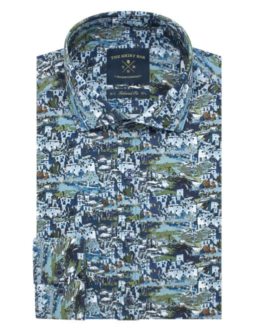 Tailored Fit 100% Premium Cotton Digitally Printed Blue Print Italian Fabric Silky Finish Long Sleeve Single Cuff Shirt TF1A7.18