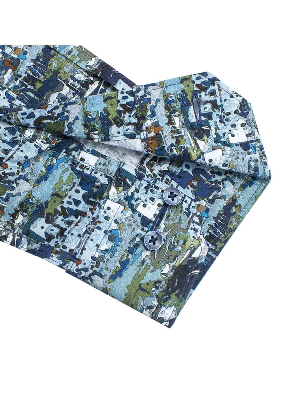 Tailored Fit 100% Premium Cotton Digitally Printed Blue Print Italian Fabric Silky Finish Long Sleeve Single Cuff Shirt TF1A7.18
