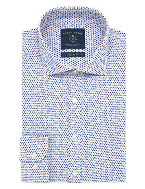 Tailored Fit 100% Premium Cotton Digitally Printed White Polka Dots Italian Fabric Silky Finish Long Sleeve Single Cuff Shirt TF1A1.18