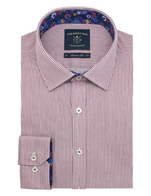 Classic Fit Cotton Blend Spill Resist White and Red Stripes Spill Resist Long Sleeve Single Cuff Shirt CF2A8.18