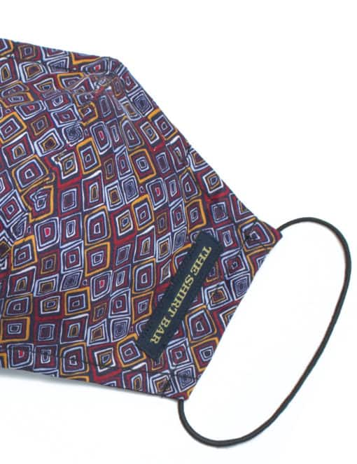 Maroon Geometric Print Reusable Mask with Pouch - FM32.1