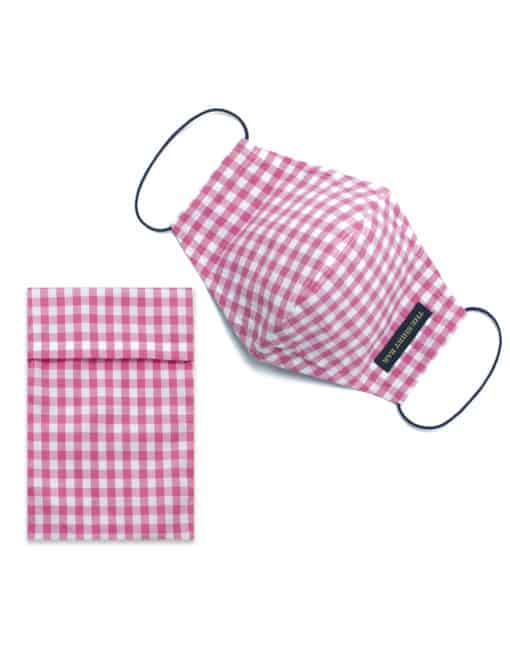 Pink Checks Reusable Mask with Pouch - FM30.1