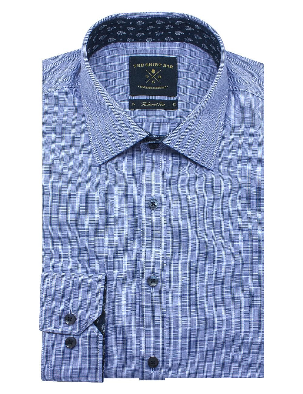 Blue Checks Spill Resist Slim / Tailored Fit Long Sleeve Shirt - TF2A11.11