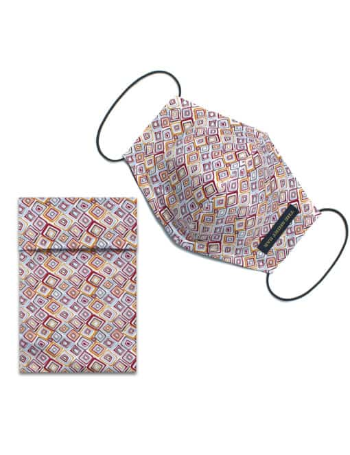 White Geometric Print Reusable Mask with Pouch - FM31.1