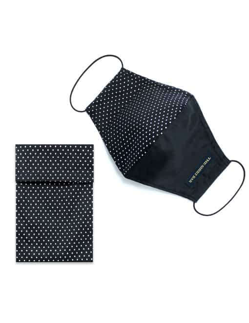 Black and Polka Dots Duality Reusable Face Mask with Pouch - FM34.1