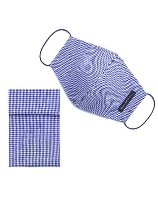 Blue Houndstooth Reusable Face Mask with Pouch - FM42.1