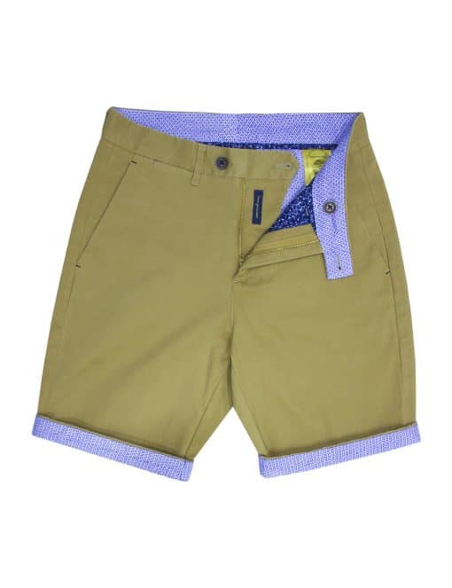 Khaki Stretch Cotton Shorts - CSA2.3