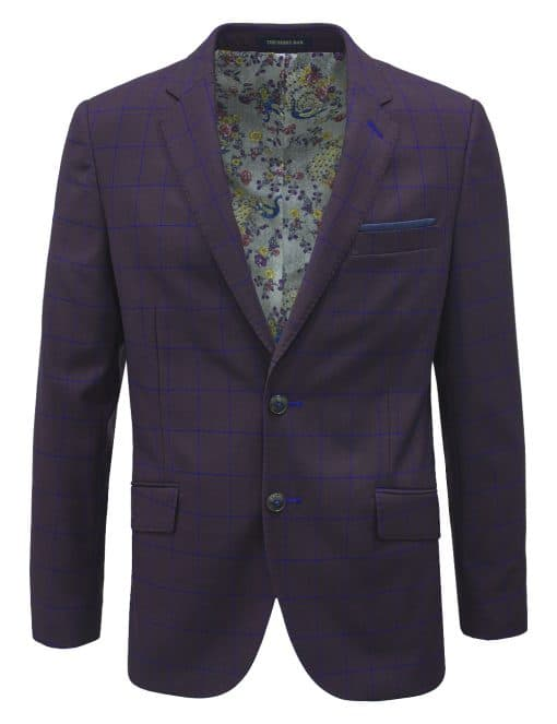 Maroon with Blue Checks Single Breasted Blazer - S2B3.4