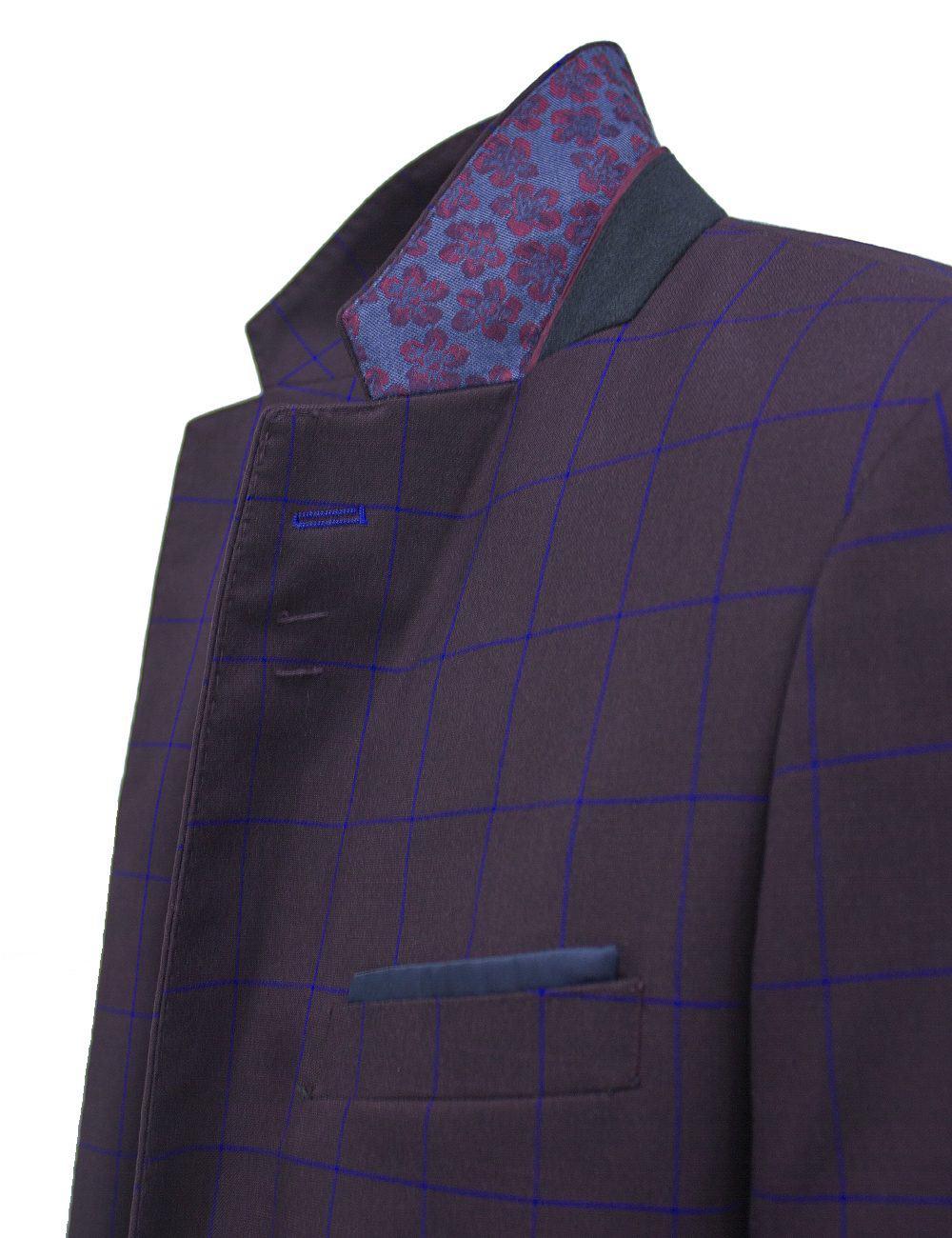 Slim Fit Maroon with Blue Checks Single Breasted Blazer - S2B3.4