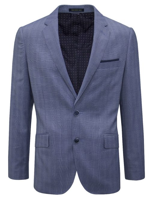 Slim Fit Navy Checks Blazer - S2B5.3
