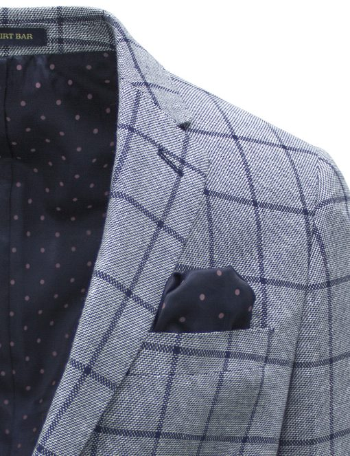 Slim Fit Navy Checks Blazer with Stretch - S2B1.3
