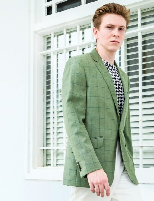 Slim Fit Green Checks Single Breasted Blazer - S2B9.4