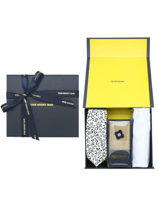 White Floral Necktie/ Lapel Pin/ Pocket Square Gift Set AGS08NLP.2
