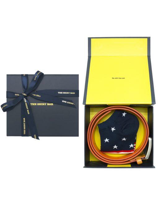 Orange Leather Belt and Socks Gift Set AGS05LBS.1