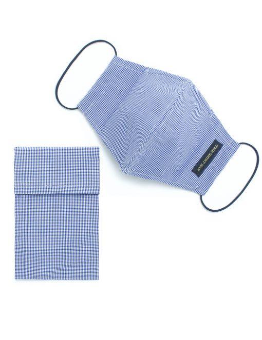 Blue Checks Reusable Face Mask with Pouch - FM45.1