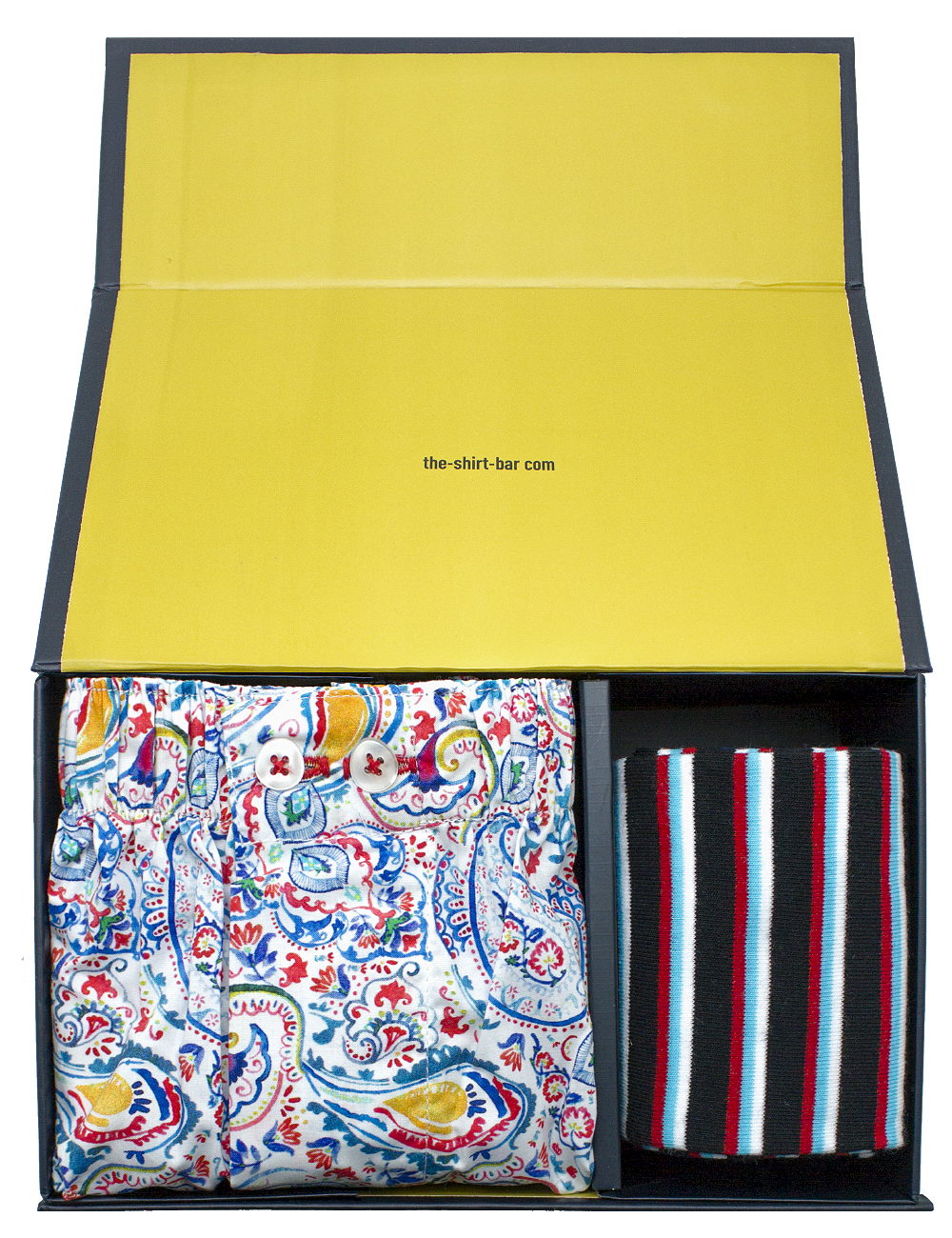 Blue Paisley Boxer Shorts and Blue Socks Gift Set - SOCBXGS2.1