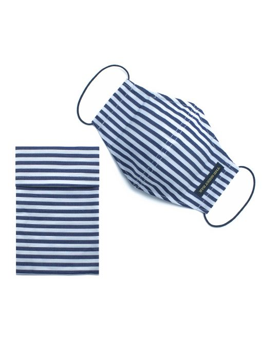 Blue Stripes Sailor Resuable Face Mask with Pouch & Embroidery - FM51.1