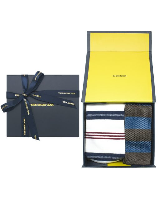 Blue and Brown Stripes Knitted Necktie and Socks Gift Set - AGS1NTS3.1