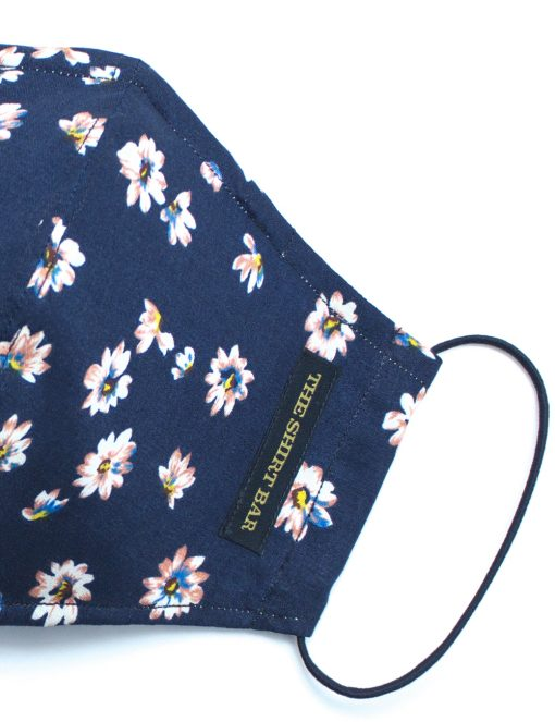 Blue with White Floral SG Inspired Reusable Face Mask with Pouch & Embroidery - FM52.1