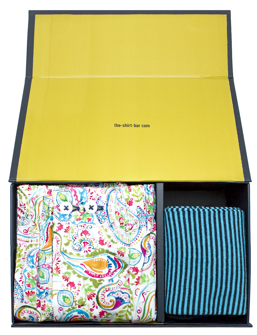 Green Paisley Boxer Shorts and Turquoise Socks Gift Set - SOCBXGS1.1