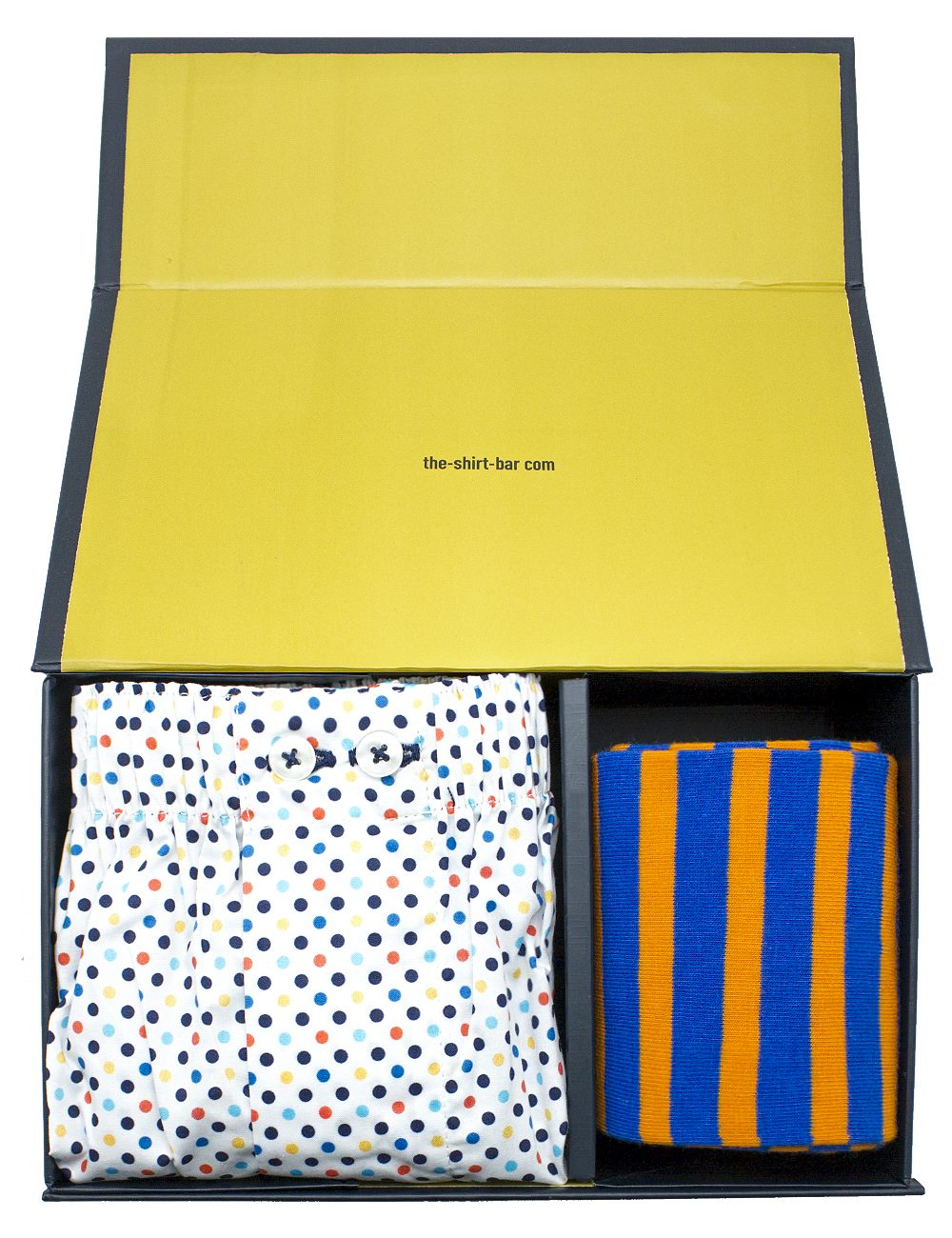 Multi Colour Boxer Shorts and Orange Socks Gift - SOCBXGS4.1